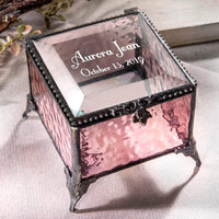 Personalized Baby Keepsake Box Customized Baptism Christening Gift Engraved Glass Jewelry Trinket J Devlin Box EB217-2 (Pink)
