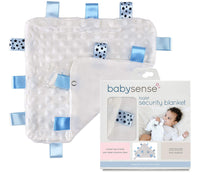 BABY SENSE Taglet Security Baby Blanket Lovey with Pacifier Tag | Soft, Soothing, Comfortable, Warm, Cozy | Unisex + Toddler | Durable & Machine Washable (Blue)