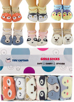 Baby Toddler Girls Grip Socks Anti Slip 1 Year Old Gift Cartoon Animal Best Non Skid Cotton Sock From Tiny Captain (Pink, Blue, Grey, Tan)