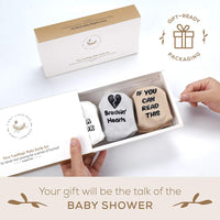 First Landings Baby Socks Gift Set | Adorable Quotes, 6 Pairs and Gift Packaging | Unique Baby Shower Gift for Boys or Girls | Best Gender Neutral Baby Gifts