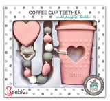 BPA Free Pacifier Clip Holder Set - Baby Girl Teething Toys - Silicone Beaded Clip and Coffee Cup Teether - Unique Newborn Baby Shower Registry Gifts - Cool & Funny Present for New Mom - Pink
