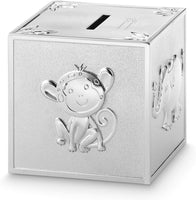 Things Remembered Personalized Silver Safari Animal Block Bank with Engraving Included