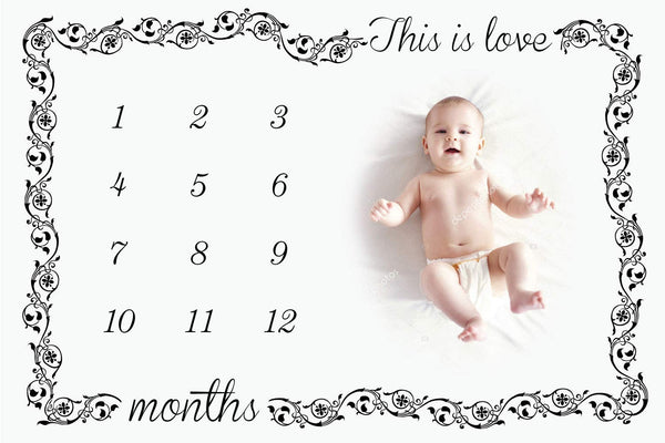 BLB Baby Monthly Milestone Blanket | Includes 13 Free Milestone Cards, Boys, Girls, and Twins, Unisex, Super Soft Flannel Fleece Blanket. 60 x 40 Inches, Professional Photo Blanket