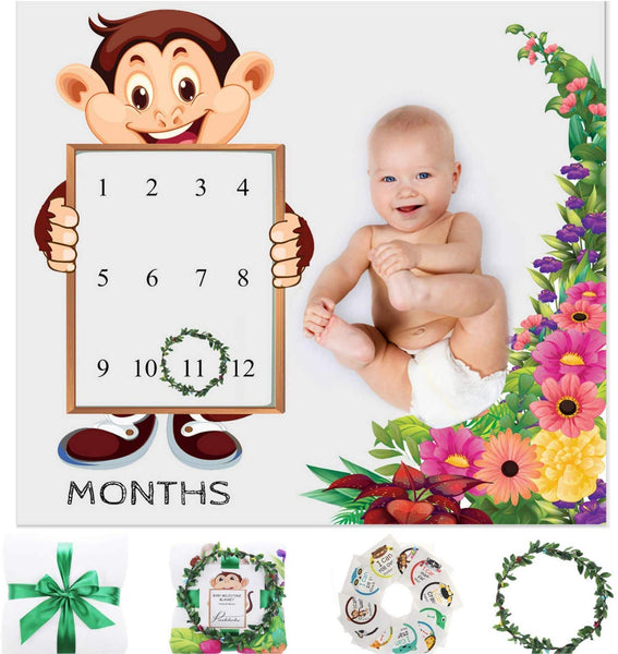 Organic Baby Monthly Milestone Blanket Unisex Newborn Boy or Girl | 1 to 12 Months | Fun Milestone Sticker Cards | Soft Cotton Fleece Photography Background Prop