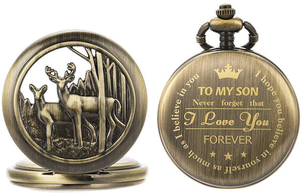 SIBOSUN Personalized Pocket Watch Engraved Back Case Gift Birthday Men to My Son Deer Reindeer Quartz