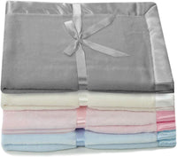 "Silky Toes Baby Fleece Blanket Boy or Girl 30"" X 30"" with 2"" Satin Trim, Pink, Light Blue and Cream"