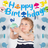 MALLMALL6 Little Shark Happy Birthday Banner Shark Family First Birthday Garlands Baby Shower Cartoon Shark Themed Party Hanging Decorations Supplies for Baby Boys and Girls