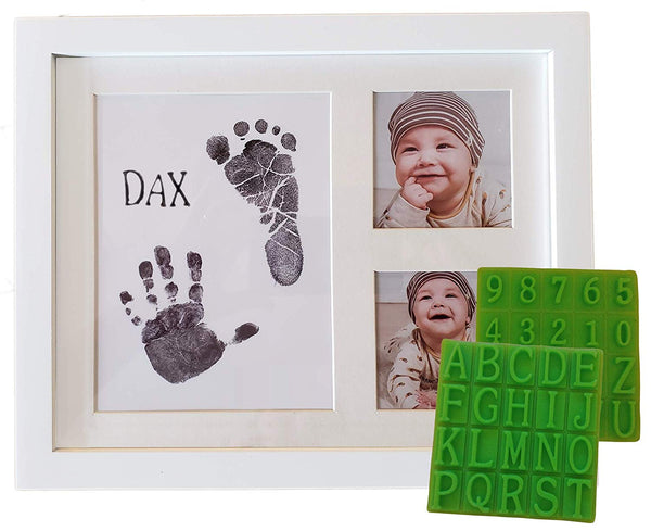Ultimate Baby Ink Handprint Footprint Kit & Frame – with Premium Picture Photo Frame, Safe Ink Pad Stamp, Paper & Bonus Stencil. The Perfect Personalized Baby Shower, Newborn Gift Idea & Memento!