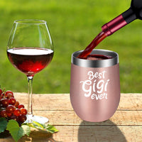 Gigi Gifts, Grandma Valentines Gifts - Funny Grandma Birthday Gifts for Gigi - Grandma Gifts from Granddaughter, Grandson - New Grandma, Grandmother, Nana Gifts - LEADO Best Gigi Ever Wine Tumbler