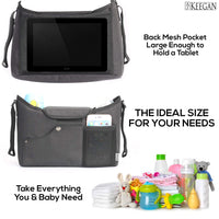 AJ Keegan Universal Baby Stroller Organizer with Cup Holders - The Only Stroller Accessory You Need - Universal Stroller Organizer Bag Includes Shoulder Strap & Stroller Hook - for Baby Shower Gifts