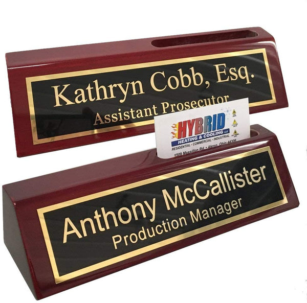 Personalized Engraved Business Desk Name Plate with Card Holder
