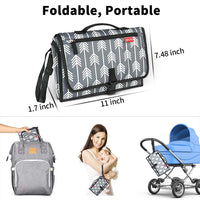 Portable Changing Pad for Diaper Bag New Mom Baby Shower Gift Ideas for Newborn Boy Girls Travel Changing Mat Station with Head Padding 3 Pockets Waterproof Foldable Diaper Clutch Gray Arrow