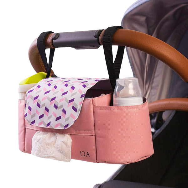 Ida Babies Modern Stroller Organizer with Cups & Phone Holders, Multifunctional Straps, Large Storage Compartments with Magnets for Easy Closure, Universal Fit for Any Stroller, Baby Shower Gift,Pink