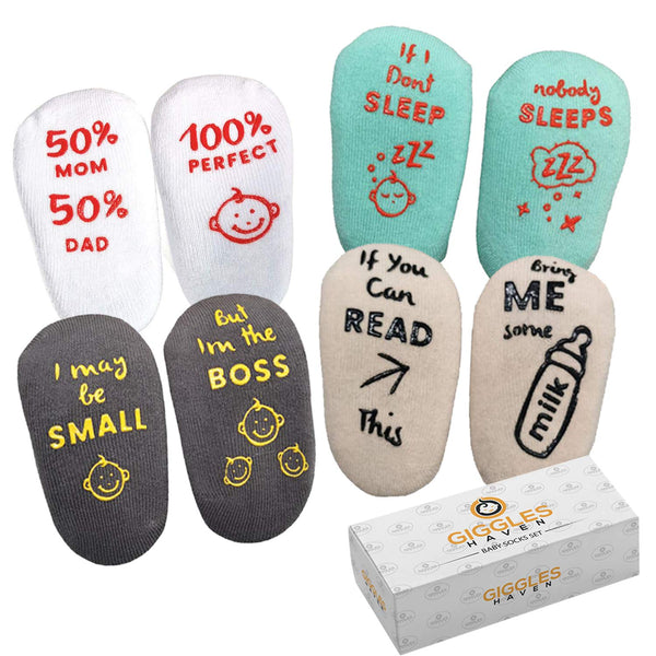 Baby Socks 4-Pair Gift Set -Infant Essentials with Funny Sayings -Non-Skid Gripper Socks to Prevent Slip or Fall -Designed for Safety and Comfort -Unique Baby Shower Gift for 6-24 Months Girls or Boys