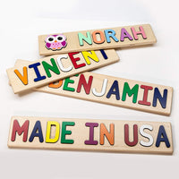 South Bend Woodworks Whimsical Character Personalized Wooden Name Puzzle - Up to 9 Characters (Including Spaces)