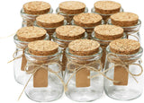 Glass Favor Jars With Cork Lids - Mason Jar Wedding Favors Apothecary Jars Honey Pot Bottles With Personalized Label Tags and String - 3.4oz [12pc Bul