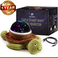 HouseBeat Baby Nursery Star Night Light Projector, Fun 4 Color Rotating Stars, Night Star Lamp for Kids | Unique Gifts for Kids, Babyshower Gifts for Boys & Girl | Turtle Starry Night Light Projector
