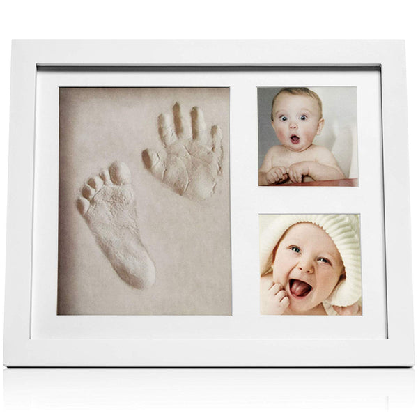 Baby Footprint kit & Handprint Photo Frame for Newborn Girls and Boys, Baby Photo Album for Shower Registry, Personalized Baby Gifts, Keepsake Box Decorations for Room Wall Nursery Decor
