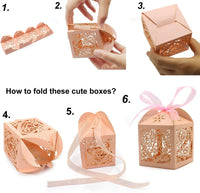 KPOSIYA 100 Pack Wedding Favor Boxes Laser Cut Boxes Party Favor Box Small Gift Boxes Lace Candy Boxes for Wedding Bridal Shower Baby Shower Birthday Party Anniverary with Ribbons (Gold, 100)