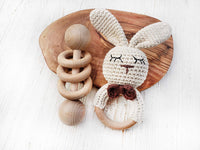 Natural Wooden Baby Toys Baby's First Christmas Toy Cotton Crochet Bunny Teething Ring Teether and Rattle Montessori Inspired Newborn Unisex Baby Shower Gift… (Sleepy Bunny)