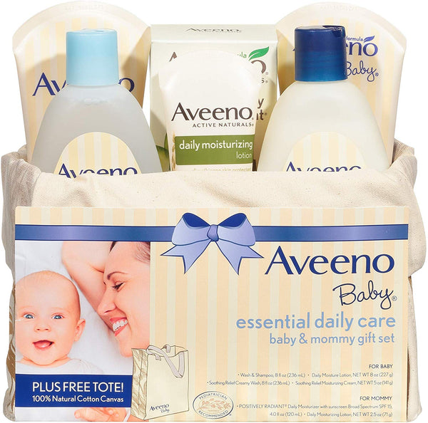 Aveeno Baby Essential Daily Care Baby & Mommy Gift Set featuring a Variety of Skin Care and Bath Products to Nourish Baby and Pamper Mom, Baby Gift for New and Expecting Moms, 8 items