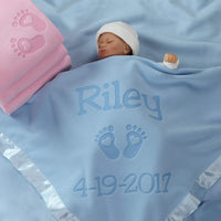 Custom Catch Personalized Newborn Gift Baby Blanket for Girl - Name with Infant Heart Feet Design - Pink or Blue (Multi-line Text)