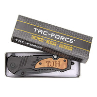 TAC-FORCE TF606WS Engraved Pocket Knife - Perfect Personalized Gift for Him for Christmas- Tactical Pocket Knife with Clip for Fathers Day, Groomsmen Gifts & Anniversary Gifts for Men, Black