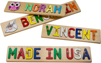 Kids Personalized Wooden Peg Name Puzzle –10-12 Characters (Including Spaces)