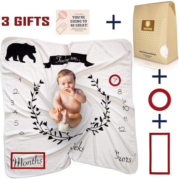 Reives Baby Monthly Milestone Blanket for Boys Girls | Newborn Unisex Photo Props | Perfect Baby Shower Gift | Premium Thick Fleece 250 GSM Personalized Swaddle | Free Frames and Designed Cardbox
