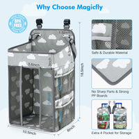 Magicfly Hanging Diaper Caddy Organizer, Diaper Stacker for Changing Table, Crib Organizer Hanging, Changing Table Diaper Organizer for Boys and Girls, Large Capacity Nursery Organization
