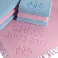 Custom Catch Personalized Princess Baby Blanket for Girl - Newborn or Infant Name Gift - Pink or Blue (2 Text Lines)