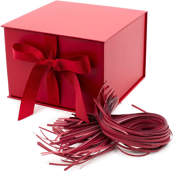 "Hallmark 7"" Large Gift Box with Fill (Red) for Birthdays, Valentines Day, Bridal Showers, Weddings, Baby Showers, Christmas and More"