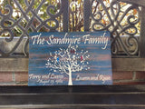 Family Tree Personalized Canvas Sign, Distressed Blue Wood Background, Love Birds, Personalized, Perfect Birthday, Anniversary, Wedding or Christmas Gift