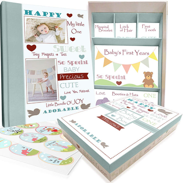 Baby Memory Book with Keepsake Box and 30 Monthly Baby First Milestone Stickers - Gender Neutral First Year Scrapbook Journal - Baby Photo Album for Boys and Girls