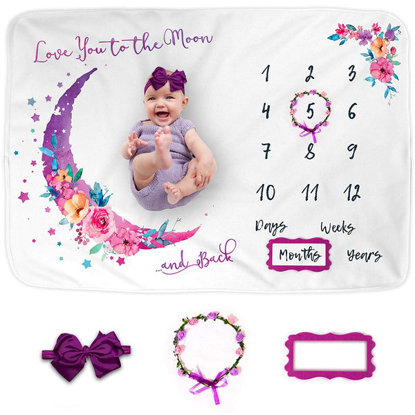 "Luka&Lily Baby Monthly Milestone Blanket for Baby Girl, Photo Blanket for Newborn Baby Shower, Baby Milestone Blanket Girl for Baby Pictures, Month Blanket, Includes Headband + 2 Frames, Large 60""x40"""
