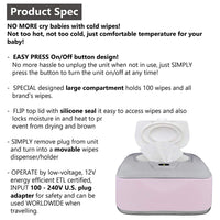 Baby Wet Wipe Warmer, Dispenser, Holder and Case - with Easy Press On/Off Switch, Only Available at Amazon