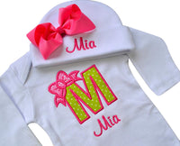 Baby Girl Embroidered Initial Onesie Bodysuit and Matching Grosgrain Bow Hat with Your Custom Name