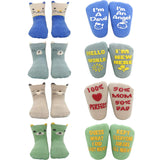 Baby Socks Gift Set Newborn Shower Gifts Boys Girls Funny Quote Socks Unisex Infant Present-4 Pairs