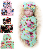 1-3 Pack BQUBO Newborn Floral Receiving Blankets Newborn Baby Swaddling with Headbands or Hats Sleepsack Toddler Warm