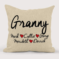 Personalized Grandparent Pillow Christmas Holiday Gift 2019| Home Decor Keepsake Burlap Pillow| Customize With Children And Grandparents Names| Gift For Grandma, Grandpa, Gigi, Nana, Poppa, and Pawpaw