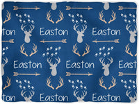 Personalized Baby Blanket Monogrammed Baby Blanket Name Blanket Deer Blanket Antler Arrow Blanket, Woodland Blanket White