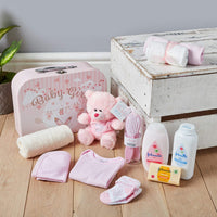 Newborn Baby Gift Set – Keepsake Box in Pink with Baby Clothes, Teddy Bear and Gifts for a New Baby Girl