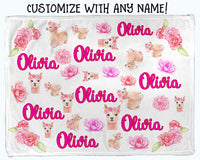 Oliver and Olivia Apparel Personalized Baby Blanket Baby Girl Blanket Llama Blanket (Fleece)