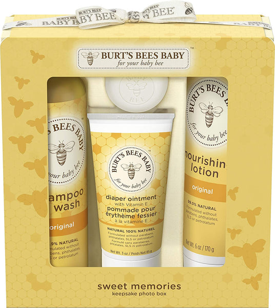 Burts Bees Baby Sweet Memories Gift Set with Keepsake Photo Box, 4 Baby Products Shampoo & Wash, Lotion, Diaper Rash Ointment and Soap