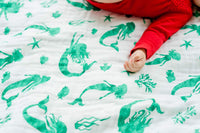 ADDISON BELLE 100% Organic Muslin Everything Blanket Oversized 47 inches x 47 inches - Best Baby/Toddler Gift - Premium 4 Layer Muslin Blanket/Dream Blanket (Mermaid Print)