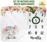 "Elephant Baby Monthly Milestone Blanket, Name Month Blankets Girl, Months Photo Props Infant Newborn Photography Mat, Floral Pink Nursery Shower Gift New Moms, Track Growth (50""x40"", Minky)"