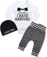 Newborn Baby Boy Clothes Hipster Bowtie Strap Long Sleeve Bodysuit +Moustache Pants+Hat 3Pcs Outfits Set