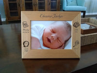 Personalized Picture Frame New Parents - Personalized Baby Gift Idea for New Moms and New Dads - Newborn Gift Displays 5x7 Inch Picture HD Glass and Custom Laser Engraved Birthday Details