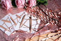 Suare Supply 100 Disposable Rose Gold Foil/Copper Cocktail Napkins | Birthday Wedding Baby/Bridal Shower Celebration/Party/Event | Dessert/Cake Table