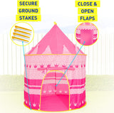 Kiddey Princess Castle Kids Play Tent - Indoor/Outdoor Pink Children Playhouse Christmas gifts for kids Boys/Girls, Easy Set up and Storage,